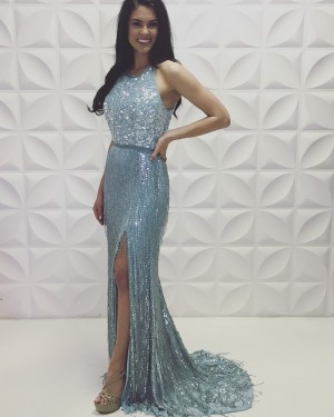 Silver Jewel Neckline Tassel Sequin Mermaid Prom Dress With Side Slit PD2190