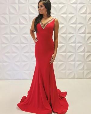 Beading Satin V-Neck Red Mermaid Formal Dress PD2191