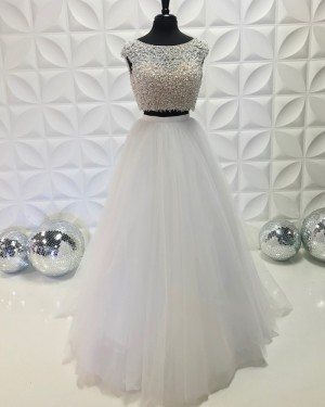 White Jewel Neckline Two Piece Beading Bodice Prom Dress With Tulle Skirt PD2192