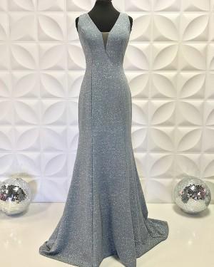 Long Mermaid Metallic V-Neck Grey Formal Dress PD2194