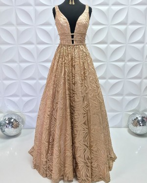 Beading Lace V-Neck A-Line Gold Pleated Formal Dress PD2195
