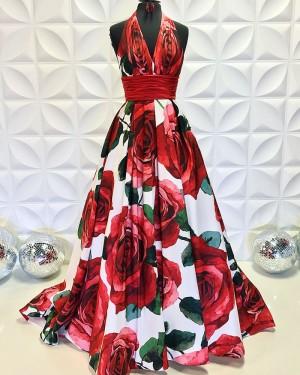 Rose Print Satin Halter A-Line Formal Dress PD2196