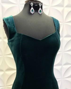 Velvet Dark Green Square Neckline Mermaid Formal Dress With Side Slit PD2197