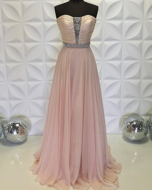 Beading Bodice Strapless Ruched Chiffon Dusty Pink Formal Dress PD2199