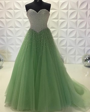 Long Olive Sweetheart Beading Bodice Tulle Prom Dress PD2201