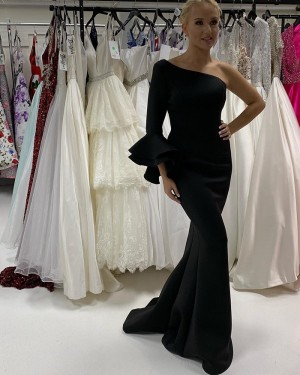 Black Satin One Shoulder Mermaid Prom Dress With Long Sleeves PD2202