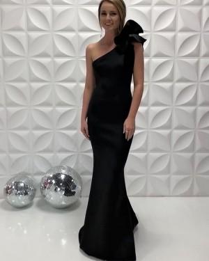 One Shoulder Satin Simple Black Mermaid Prom Dress  PD2204