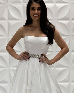 White Strapless Satin A-Line Formal Dress With Beading Sashes PD2205