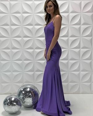 Purple Satin Spaghetti Straps Ruched Mermaid Prom Dress PD2206