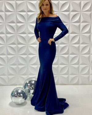Off The Shoulder Blue Simple Mermaid Formal Dress With Long Sleeves PD2207