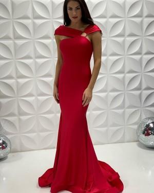 Satin Red V-Neck Mermaid Long Formal Dress PD2208
