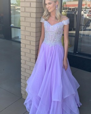 Lavender V-Neck Applique Bodice Tulle Prom Dress PD2209