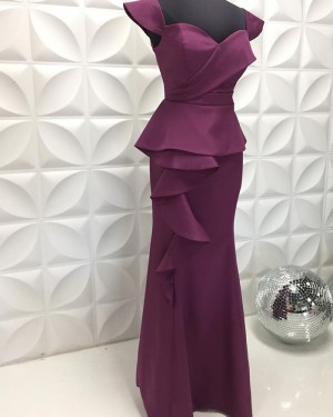 Egg Plant Square Neckline Satin Formal Dress With Cap Sleeves PD2211
