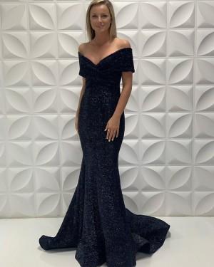 Off The Shoulder Black Simple Mermaid Satin Prom Dress PD2213