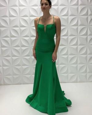 Spaghetti Straps Sage Simple Satin Mermaid Prom Dress PD2214