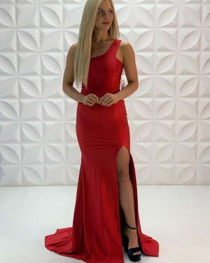 Red Satin Mermaid One Shoulder Prom Dress With Side Slit PD2216