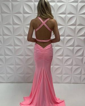 V-Neck Pink Satin Simple Mermaid Ruched Formal Dress PD2217