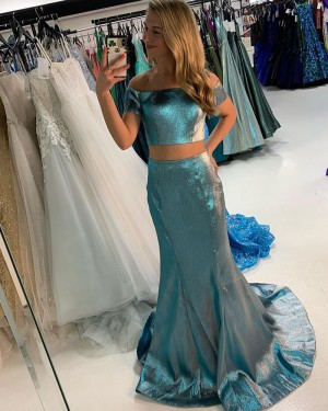 Metallic Green Two Piece Off The Shoulder Prom Dress With Short Sleeves PD2219