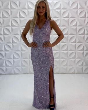Lavender Sequin V-Neck Mermaid Prom Dress With Side Slit PD2220
