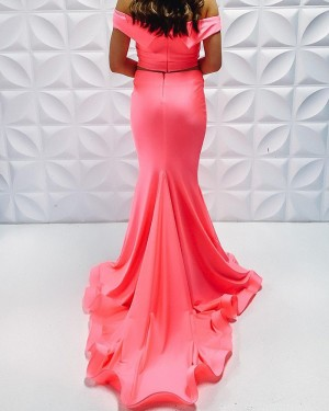 Two Piece Coral Pink Off The Shoulder Satin Simple Mermaid Prom Dress PD2223