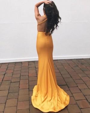 V-Neck Satin Orange Mermaid Simple Prom Dress PD2225