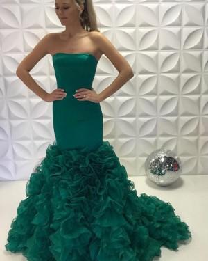 Green Satin Strapless Ruffled Mermaid Long Prom Dress PD2226
