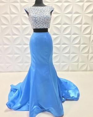 Beading Bodice Two Piece Sky Blue Mermaid Prom Dress PD2227