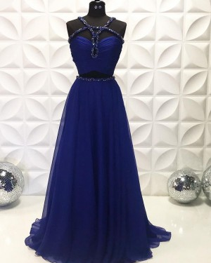 Navy Blue Two Piece Beading Ruched Chiffon Prom Dress PD2228