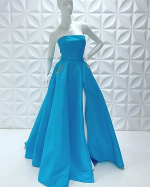 Satin Simple Strapless Side Slit Prom Dress With Beading Pockets PD2229
