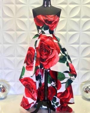 High Low Strapless Rose Print Prom Dress PD2231