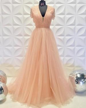 Beading Bodice Blush Pink V-Neck Tulle A-Line Prom Dress PD2235