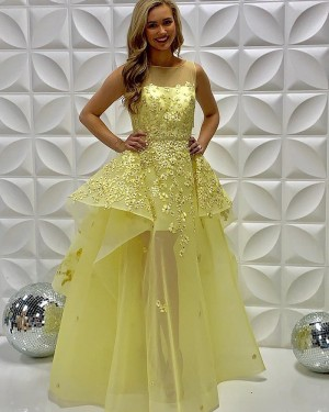 Light Yellow Sheer Neckline Embroidered Tulle Prom Dress PD2238