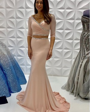 Nude Satin Ruched Two Piece Mermaid Beading Prom Dress With Half Length Sleeves PD2239