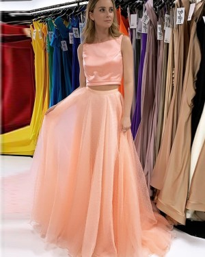 Blush Pink Bateau Neckline Two Piece Prom Dress With Beading Skirt PD2240