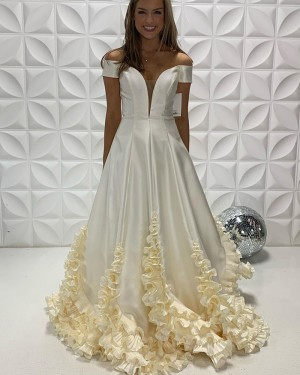 White Satin Off The Shoulder Prom Dress With Ruffle Hems PD2242