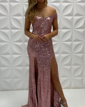 Rose Gold Sequin V-Neck Mermaid Prom Dress With Double Side Slits PD2243