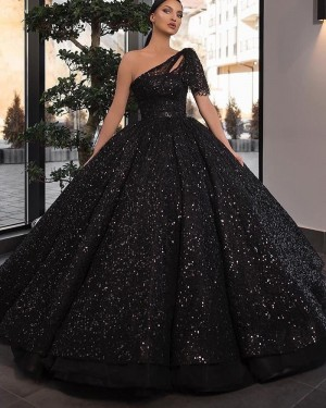 Black Sequin One Shoulder Ball Gown Prom Dress With Short Sleeves PD2245