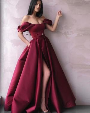 Burgundy Pleated Off The Shoulder Satin Prom Dress With Side Slit & Pockets PD2246