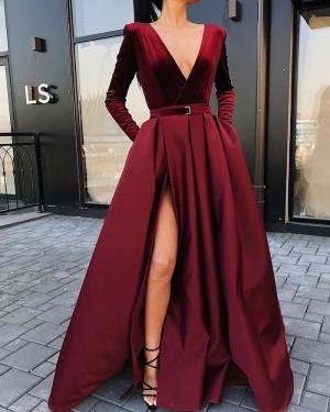V-Neck Burgundy Satin Long Sleeve Simple Prom Dress With Side Slit PD2249