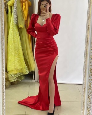 Red Ruched Long Sleeve Square Neckline Prom Dress With Side Slit PD2250