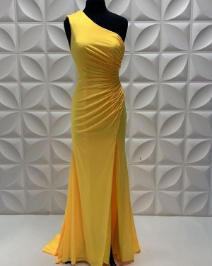 Fuchsia Satin One Shoulder Sheath Prom Dress With Side Slit PD2251