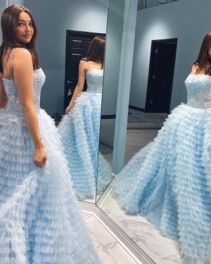 Spaghetti Straps Light Blue Lace Bodice Prom Dress With Ruffle Skirt PD2257