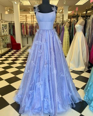 Spaghetti Straps Light Blue Beading Pleated Prom Dress With 3D Flowers PD2258
