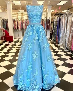 Lace Bateau Neckline Mint Prom Dress With Beading Waist PD2259