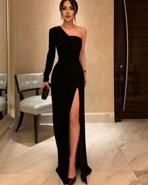 Black Sheath Long Sleeve One Shoulder Formal Dress With Side Slit PD2261