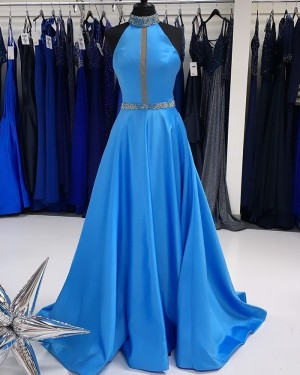 Beading Blue High Neck Satin A-Line Prom Dress PD2262