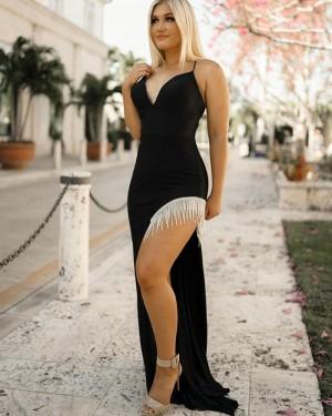 Black Mermaid Spaghetti Straps Prom Dress With Tassels Side Slit PD2263