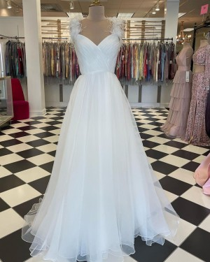 Square Neckline White Ruched Tulle Prom Dress With Feather Straps PD2265