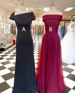 Square Neckline Sheath Black Satin Prom Dress With Short Sleeves PD2267