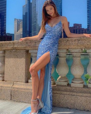 Blue Spaghetti Straps Sequin Mermaid Formal Dress with Side Slit PD2269